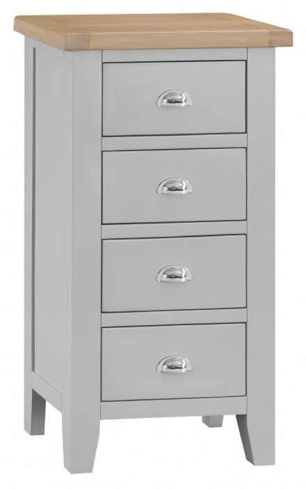 Toulouse Grey Painted 4 Drawer Narrow Chest